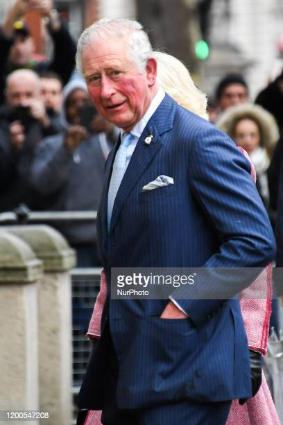 Britains Prince Charles Prince of Wales and Camilla Duchess of Cornwall arrive at Cabinet Office London on February 13 2020