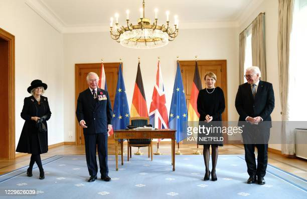 Britain's Prince Charles , Prince of Wales and Camilla , Duchess of Cornwall pose for a picture next to German President Frank-Walter Steinmeier and...