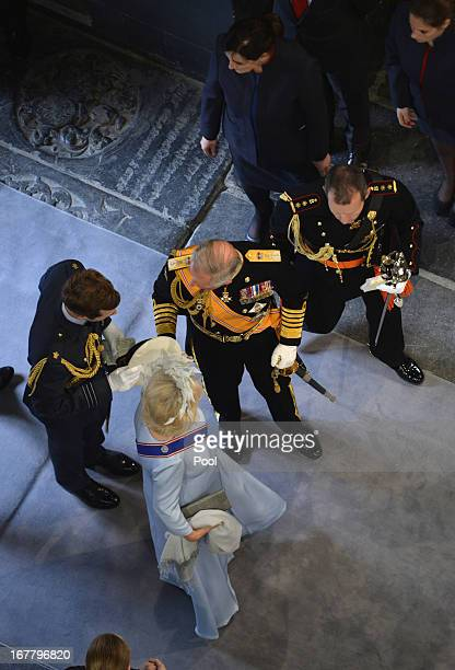 Britain's Prince Charles Prince of Wales and Camilla Duchess of Cornwall attend the inauguration of HM King Willem Alexander of the Netherlands and...
