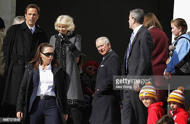 Britain's Prince Charles Prince of Wales and his wife Camilla Duchess of Cornwall accompanied by historian Michael Beschloss arrive at Lincoln...