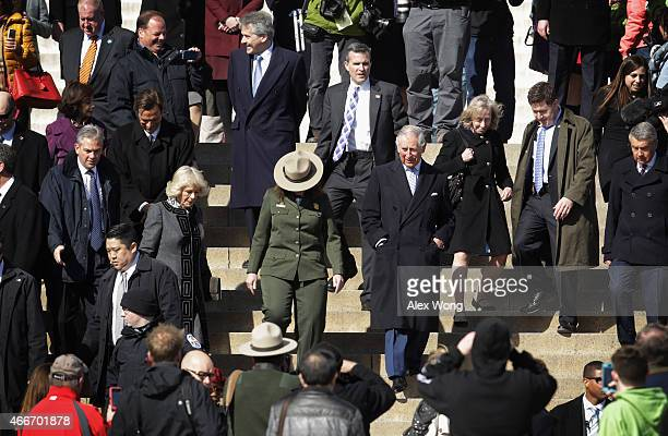 Britain's Prince Charles Prince of Wales and his wife Camilla Duchess of Cornwall leave Lincoln Memorial after a visit March 18 2015 in Washington DC...