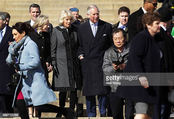Britain's Prince Charles Prince of Wales and his wife Camilla Duchess of Cornwall leave Lincoln Memorial with historian Doris Kearns Goodwin after a...