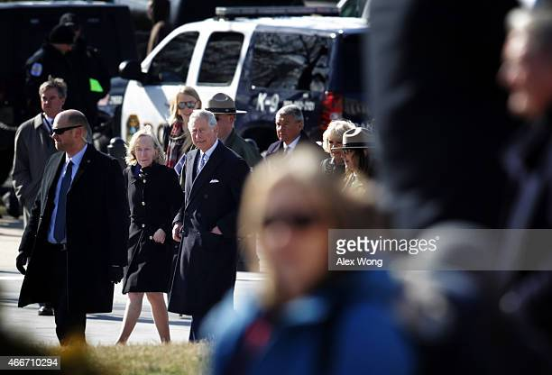 Britain's Prince Charles Prince of Wales and his wife Camilla Duchess of Cornwall accompanied by historian Doris Kearns Goodwin arrive at Lincoln...