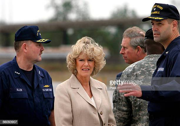 Britain's Prince Charles Prince of Wales and his wife Camilla Duchess of Cornwall talk with US Coast Guard Vice Admiral Thad Allen and Captain Thomas...