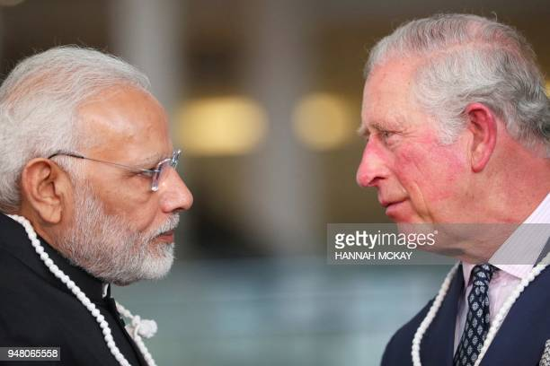 TOPSHOT Britain's Prince Charles Prince of Wales and India's Prime Minister Narendra Modi visit the Science Museum in London on April 18 the third...
