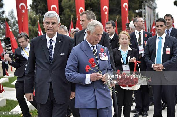 Britain's Prince Charles Prince of Wales and Turkey's EU affairs minister Volkan Bozkir attend a ceremony at the Turkish 57th Regiment Memorial to...