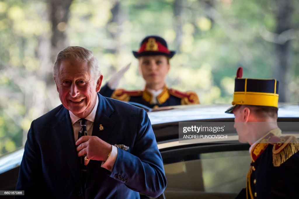 Britain's Prince Charles, Prince of Wales, arrives for a meeting with Romanian president at Cotroceni Palace on March 29, 2017 in Bucharest during his one-day visit. /