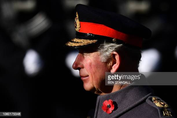 TOPSHOT Britain's Prince Charles Prince of Wales attends the Remembrance Sunday ceremony on Whitehall in central London on November 11 2018 On the...