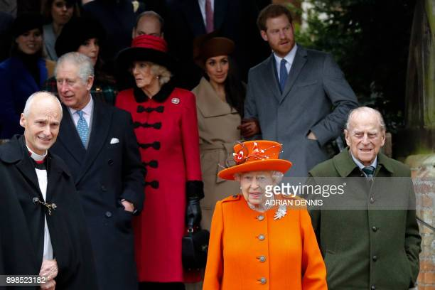 Britain's Prince Charles, Prince of Wales, Britain's Camilla, Duchess of Cornwall US actress and fiancee of Britain's Prince Harry Meghan Markle...
