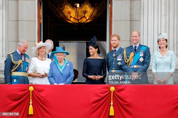 Britain's Prince Charles, Prince of Wales, Britain's Camilla, Duchess of Cornwall, Britain's Queen Elizabeth II, Britain's Meghan, Duchess of Sussex,...