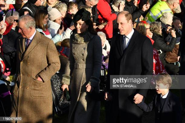 Britain's Prince Charles, Prince of Wales, Britain's Catherine, Duchess of Cambridge, Britain's Princess Charlotte of Cambridge , Britain's Prince...
