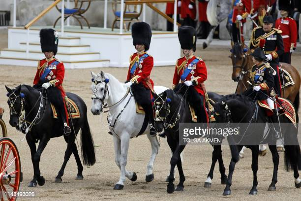Britain's Prince Charles, Prince of Wales, Britain's Prince William, Duke of Cambridge, Britain's Prince Andrew, Duke of York, and Britain's Princess...