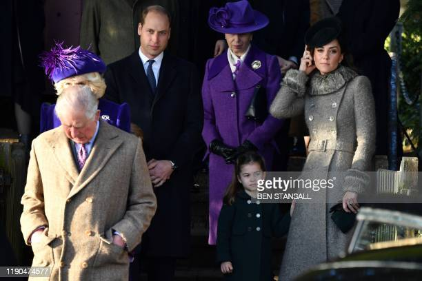 Britain's Prince Charles, Prince of Wales, Britain's Prince William, Duke of Cambridge, Britain's Princess Anne, Princess Royal, Britain's Princess...