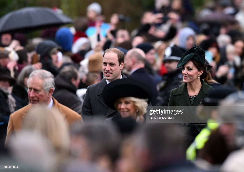 Britain's Prince Charles, Prince of Wales, Britain's Prince William, Duke of Cambridge, Camilla, Duchess of Cornwall and Catherine, Duchess of Cambridge arrive for a traditional Christmas Day Church Service at Sandringham in eastern England, on December 25, 2015. STANSALL