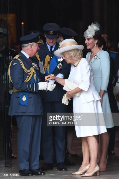 Britain's Prince Charles Prince of Wales Britain's Prince William Duke of Cambridge Britain's Camilla Duchess of Cornwall and Britain's Catherine...