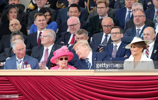 Britain's Prince Charles Prince of Wales Britain's Queen Elizabeth II US President Donald Trump and US First Lady Melania Trump attend an event to...