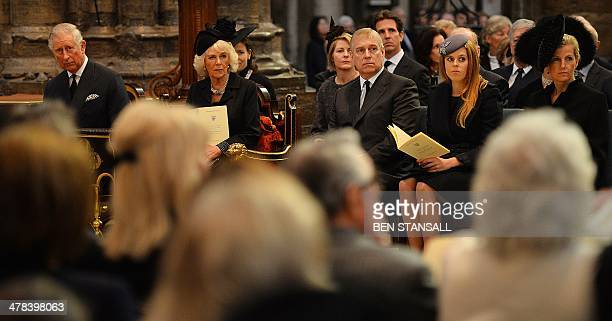 Britain's Prince Charles Prince of Wales Camilla Duchess of Cornwall Prince Andrew Duke of York Princess Beatrice of York and Sophie Countess of...