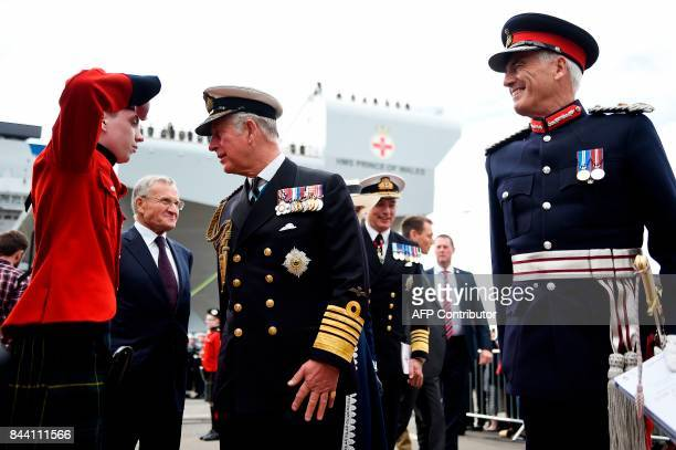 Britain's Prince Charles Prince of Wales Duke of Rothesay in Scotland arrives to attend the official naming ceremony of the QE Class aircraft carrier...