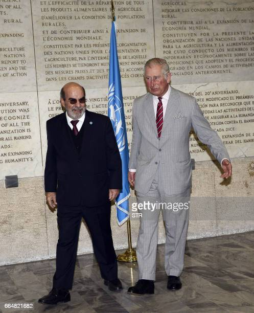 Britain's Prince Charles Prince of Wales is welcomed by the Food and Agriculture Organization general director Jose Graziano da Silva on April 5 2017...
