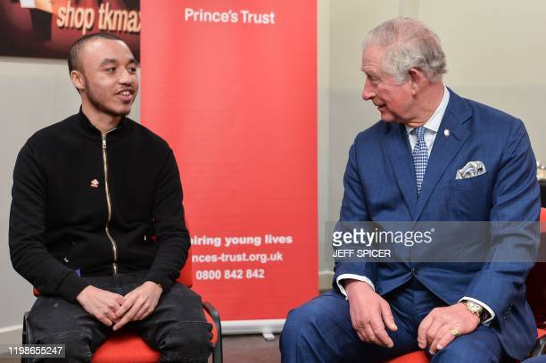 Britain's Prince Charles, Prince of Wales joins a discussion with The Prince's Trust supported young people to hear about what its like to be a young...