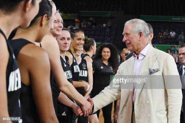 Britain's Prince Charles Prince Of Wales meets the New Zealand team and coaching staff following the India V New Zealand women's basketball game at...