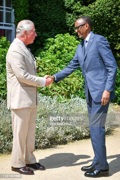 Britain's Prince Charles Prince of Wales meets with President of Rwanda Paul Kagame at his residence Highgrove House near the town of Tetbury in...