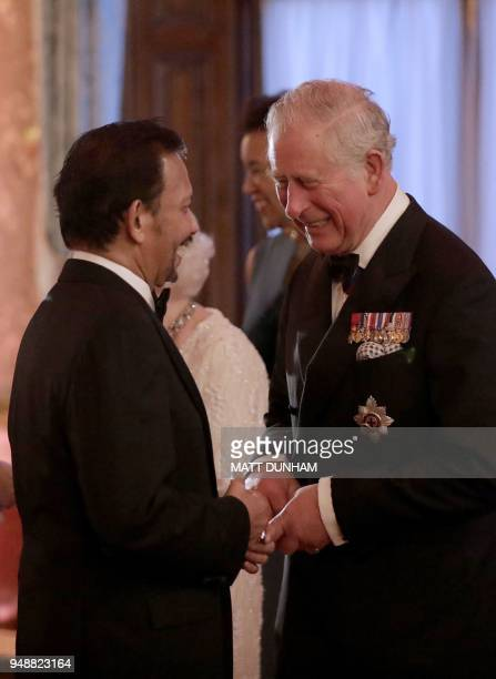 Britain's Prince Charles Prince of Wales receives Sultan of Brunei Hassanal Bolkiah in the Blue Drawing Room for a drinks reception before The...