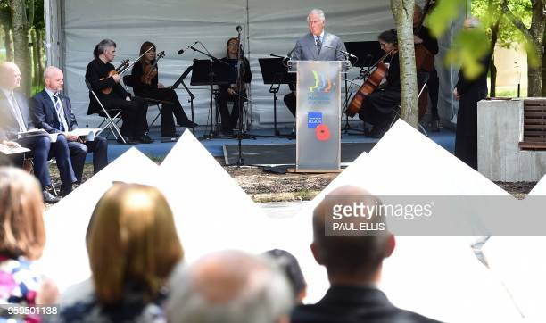 Britain's Prince Charles, Prince of Wales speaks during the dedication service for the National Memorial to British Victims of Overseas Terrorism at...