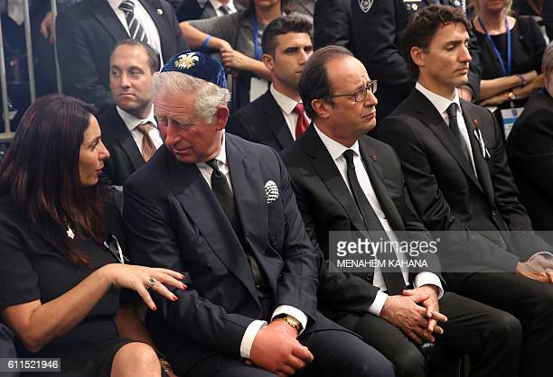 Britain's Prince Charles Prince of Wales speaks with Israeli Minister of Sport and Culture Miri Regev next to French President Francois Hollande and...