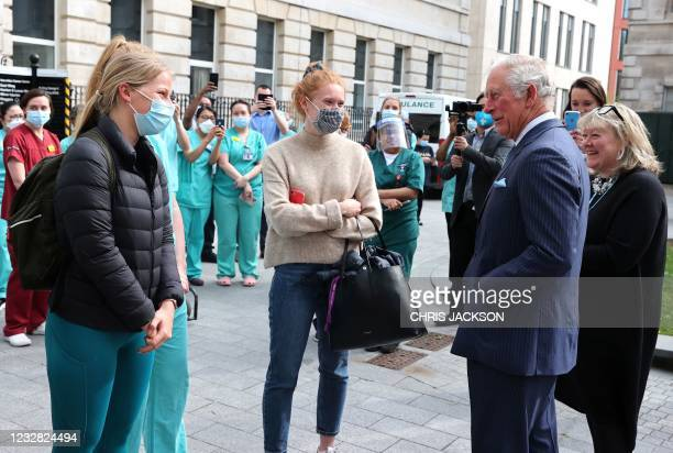 Britain's Prince Charles, Prince of Wales speaks with nursing staff during a visit to St Bartholomew's Hospital, where he viewed its historic Grade I...