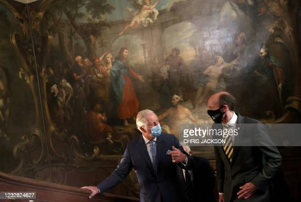 Britain's Prince Charles, Prince of Wales speaks with Will Palin, chief executive of Barts Heritage during a visit to view St Bartholomew's Hospital...