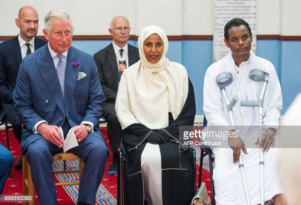 Britain's Prince Charles Prince of Wales visits Muslim Welfare House in Finsbury near the scene of the Finsbury Mosque attack in north London on June...