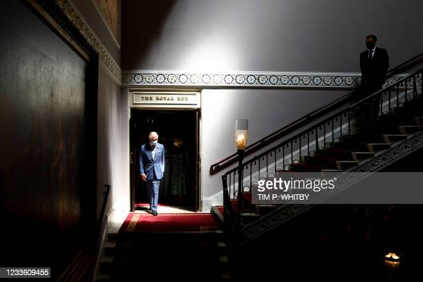 Britain's Prince Charles, Prince of Wales visits the Theatre Royal Drury Lane following its refurbishment in London on June 23, 2021.