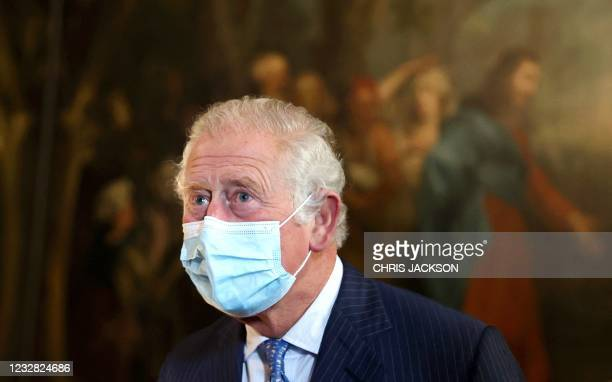 Britain's Prince Charles, Prince of Wales wearing a protective face covering to combat the spread of the coronavirus, visits St Bartholomew's...