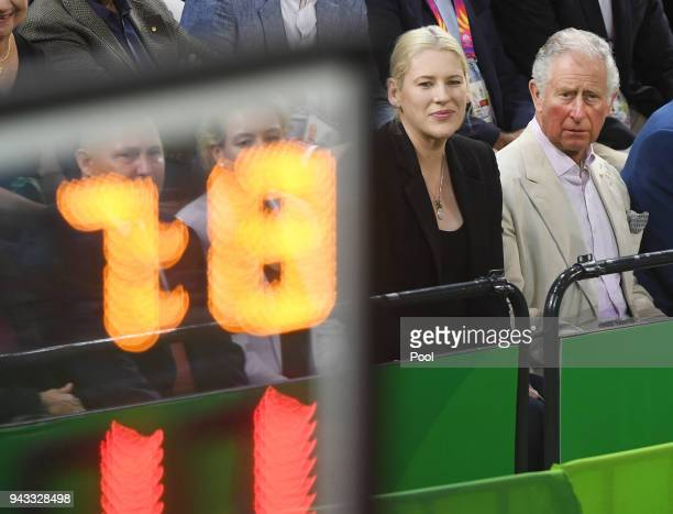 Britain's Prince Charles Prince Of Wales with former Australian and WNBA basketball player Lauren Jackson to his right during the India V New Zealand...