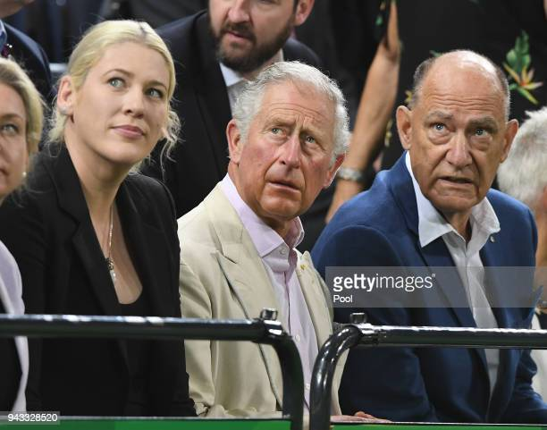 Britain's Prince Charles Prince Of Wales with former Australian and WNBA basketball player Lauren Jackson to his right in instructed in the finer...
