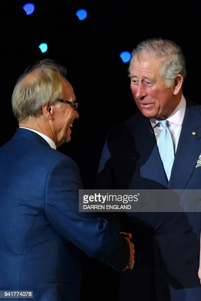 Britain's Prince Charles shakes hands with 2018 Gold Coast Commonwealth Games Organising Committee Chairman Peter Beattie during the opening ceremony...