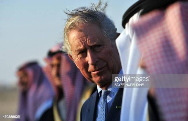 Britain's Prince Charles talks to Saudi Minister of National Guard Prince Mutaib bin Abdullah on February 19 2014 in Riyadh Charles is in Saudi...