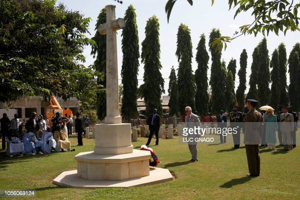 Britain's Prince Charles the Prince of Wales and Camilla the Duchess of Cornwall visit the Commonwealth War Graves Cemetery in Fajara on November 1...
