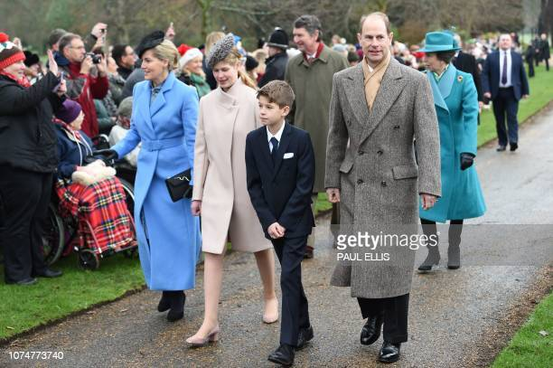 Britain's Prince Edward Earl of Wessex and Britain's Sophie Countess of Wessex arrive with their children Lady Louise Windsor and James Viscount...