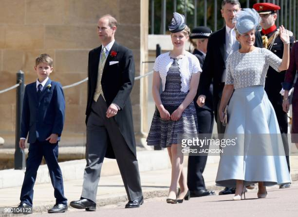 Britain's Prince Edward Earl of Wessex and his wife Britain's Sophie Countess of Wessex arrive with their children Britain's Lady Louise Windsor and...