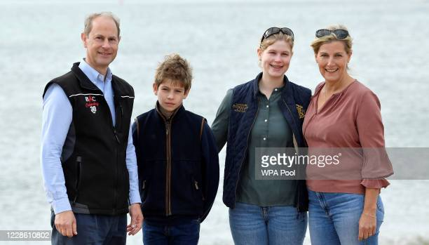 Britain's Prince Edward Earl of Wessex and Sophie Countess of Wessex pose with their children Lady Louise and James Viscount Severn as they take part...