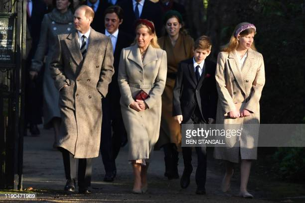 Britain's Prince Edward Earl of Wessex Britain's Sophie Countess of Wessex and their children Viscount Severn and Lady Louise Windsor arrive for the...
