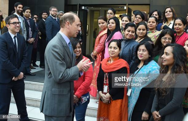 Britain's Prince Edward Earl of Wessex meets Indian employees on his visit to the British Council in New Delhi on February 7 2018 Edward the third...