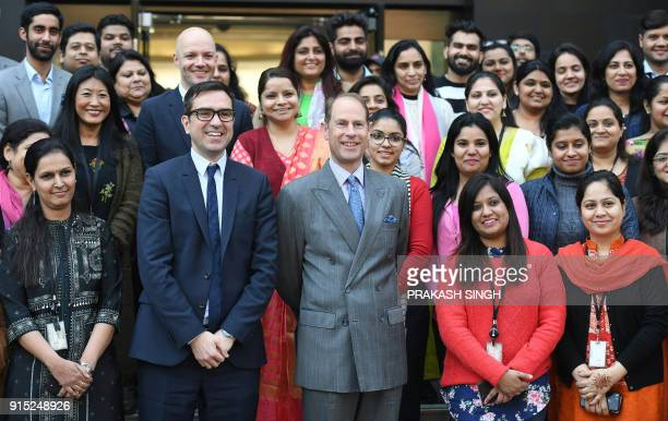 Britain's Prince Edward Earl of Wessex visits the British Council in New Delhi on February 7 2018 Edward the third son of Britain's Queen Elizabeth...