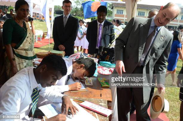 Britain's Prince Edward meets with students of Sri Lanka's schools for the deaf and blind near the capital Colombo February 3 2018 The royals are in...
