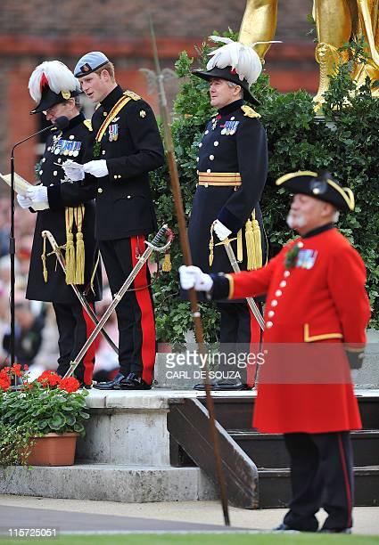 Britain's Prince Harry addresses Chelsea Pensioners during the annual Founders Day Parade at the Royal Hospital Chelsea, in London, on June 9, 2011....
