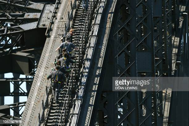 TOPSHOT Britain's Prince Harry and Australian Prime Minister Scott Morrison join a group of Invictus Games athletes on Sydney Harbour Bridge for the...
