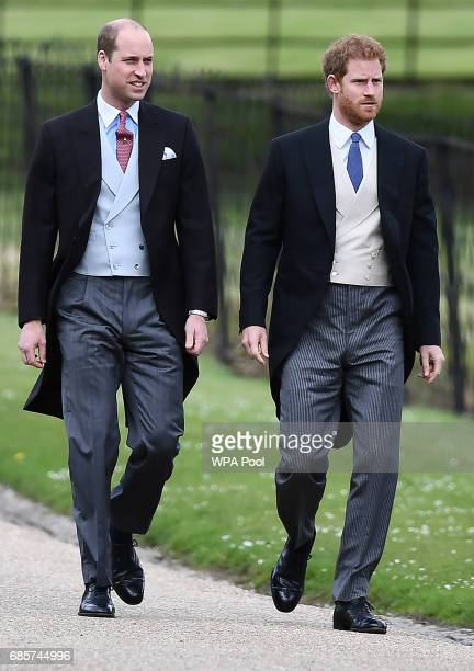 Britain's Prince Harry and Britain's Prince William, Duke of Cambridge attend the wedding of Pippa Middleton and James Matthews at St Mark's Church...