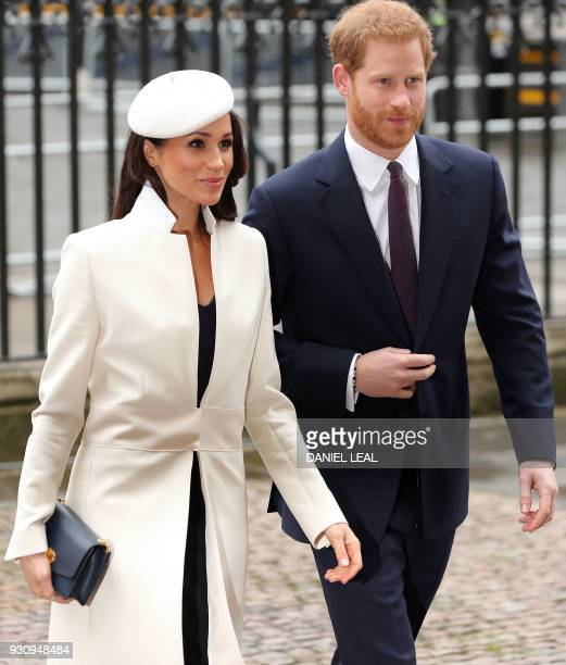 Britain's Prince Harry and his fiancee US actress Meghan Markle attend a Commonwealth Day Service at Westminster Abbey in central London on March 12...